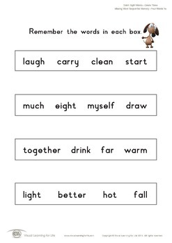 Missing Word Sequential Memory (3rd Grade)