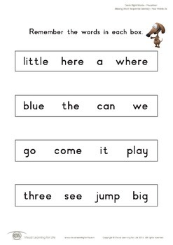 Missing Word Sequential Memory (Pre-K)