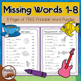 Missing Words 1-8 Free Word Puzzles