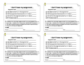 Missing Work Form - Documenting Missing Assignments for Student and Teacher