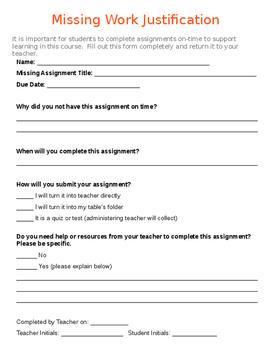 Missing Work Justification Form