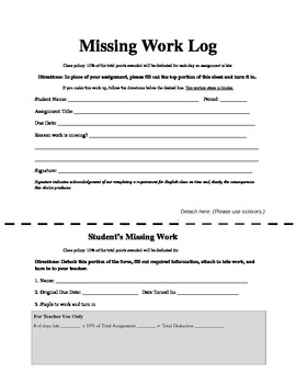 Missing Work Log and Receipt