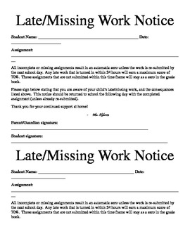 Missing Work Notice