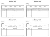 (Editable) Missing Work Reminder Slips