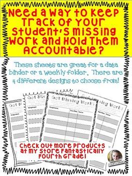Missing Work Sheets- FREEBIE