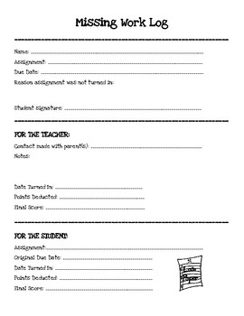 Missing Work Student Form