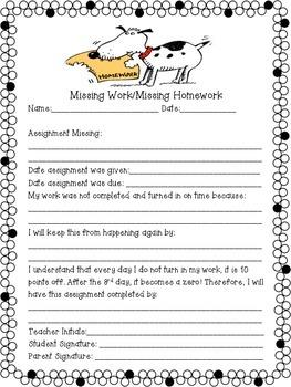 Missing Work/Homework Sheet