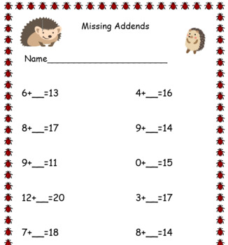 Missing addends to 20