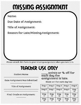 Missing and Late Assignments Form