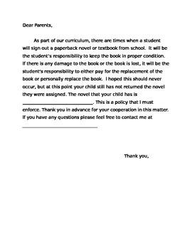 Missing book letter