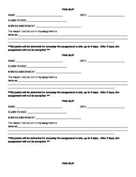 Missing homework assignment