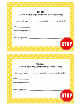 Missing homework parent sheet