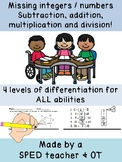 Missing integers / numbers : subtraction, addition, multiplication, division