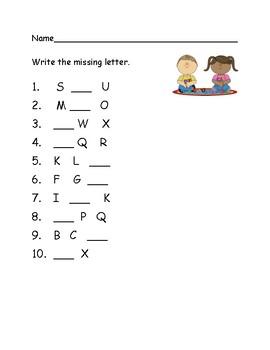 Missing letter quiz