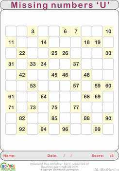 Missing number (21 Numeracy sheets)
