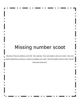 Missing number scoot
