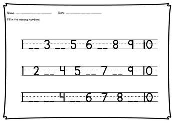 Missing numbers 1-20 worksheets - no prep - number recognition and sequencing