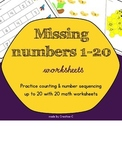 Missing numbers 1-20 worksheets - no prep - number recogni