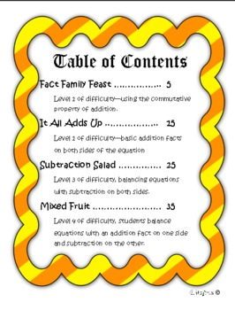 Missing numbers addition and subtraction Thanksgiving Theme common core aligned
