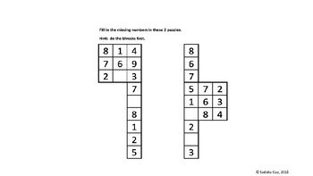 Fun with Sudoku Guy (K - Gr 3, LESSON 5 ): Combined column & block.