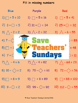 Missing numbers lesson plans, worksheets and more
