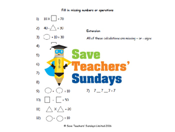 Missing numbers problems lesson plans and worksheets