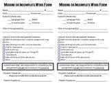 Missing or Incomplete Homework Form