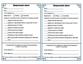 missing homework letter to parents