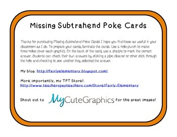 Missing subtrahend poke cards