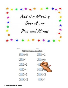 Missing the operation- math facts to 10