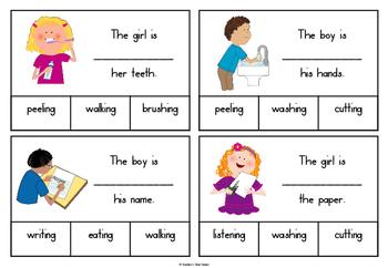 Missing verb clip cards
