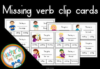 Missing verb clip cards
