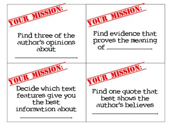 Mission Cards: Informational (Fill In the Blanks)