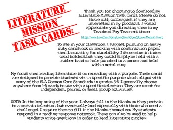 Mission Cards: Literature (Fill In the Blank)
