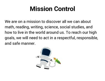 Mission Control: A Space Themed Back to School Class  Set Up