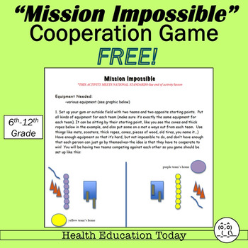 """P.E. Curriculum: """"Mission Impossible""""  FREE - A Team Cooperation Game!"""