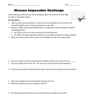 Mission Impossible Index Card Challenge - Back to School Activity
