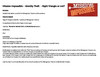 Mission Impossible - Using the converse of the Pythagorean Theorem