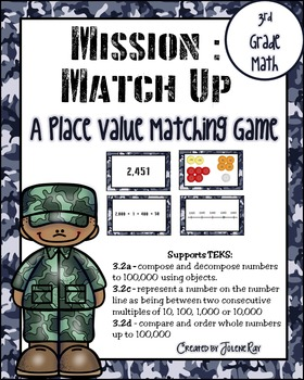 Mission Match Up: 3rd Grade Place Value: Supports TEKS 3.2