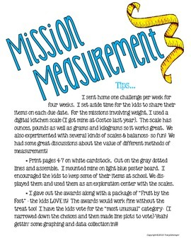 Mission Measurement!  Fun Hands-On Exploration of Weight and Length
