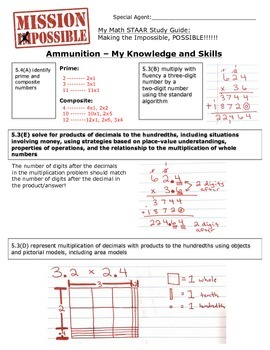 Mission Possible STAAR Math Review - TEKS 5.3B, 5.3E, 5.3D, and 5.4A