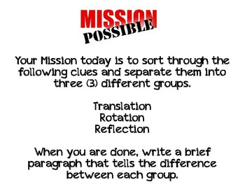 Mission Possible (Translation- Rotation -Reflection)
