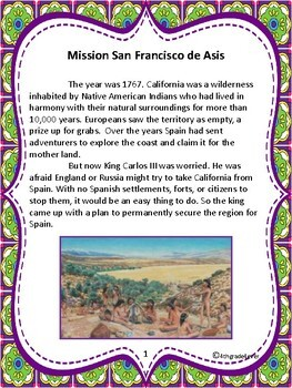 Mission San Francisco de Asis - Informational Text & Bloom's Taxonomy Activities
