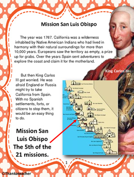 Mission San Luis  Obispo Informational Text & Activities