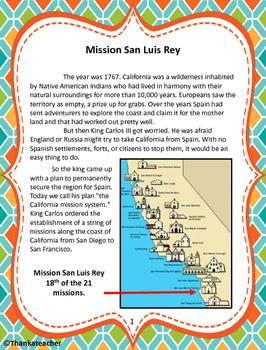 Mission San Luis Rey Informational Text & Activities
