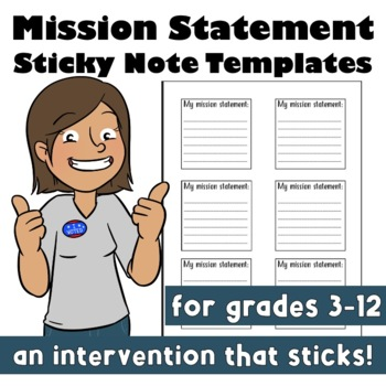 Back to School: Mission Statement Sticky Note Templates Growth Mindset