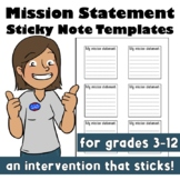 Mission Statement Sticky Note Templates Growth Mindset