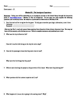 Mission-US Immigration Game Worksheet