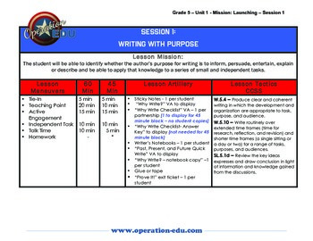 Mission: Writing - Grade 5 - Unit 1: Launching the Writing Workshop