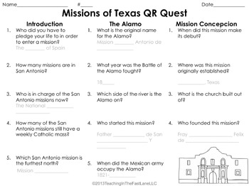 Spanish Missions of Texas QR Code Quest